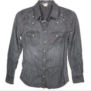 Levi's   Gray Studded Star Button Up Shirt